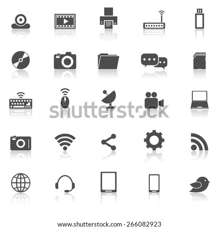 Hi-tech icons with reflect on white background, stock vector - stock vector