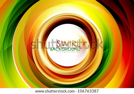 Hi-tech swirl abstract swirl shaped colorful background. Eps10 fully editable illustration - stock vector