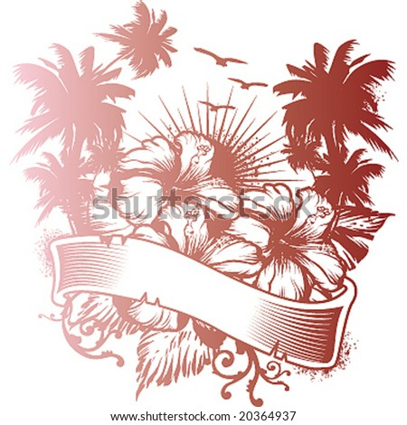 hibiscus and palms emblem - stock vector