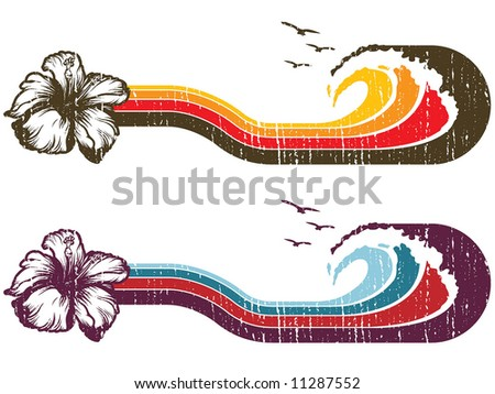 hibiscus stripe illustration - stock vector