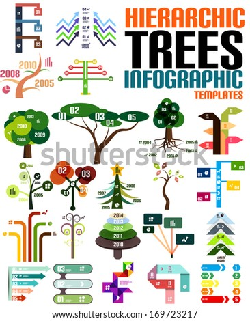 Hierarchic tree infographic templates set - stock vector
