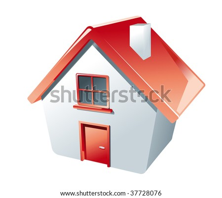 High angle perspective of a 3d Cartoon model house in red and white with a single door and window and a little chimney. jpeg version also available in gallery - stock vector