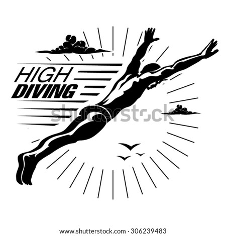 High angle view of a man diving in midair .Vector illustration in the engraving style. - stock vector