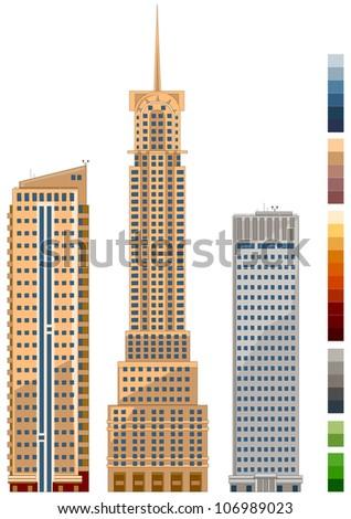 High buildings in vector - stock vector