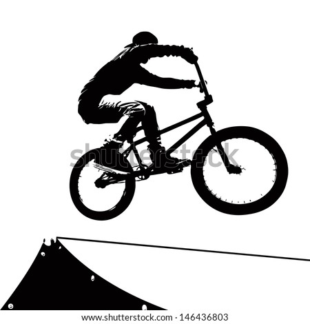 High contrast silhouette of an extreme sports bike rider doing a transfer on a ramp at the skate park. - stock vector