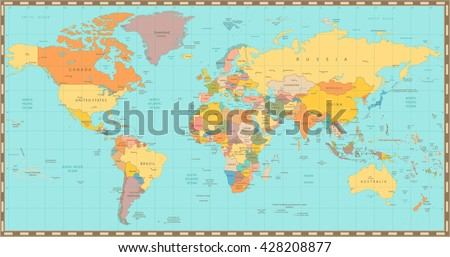 High Detail old World map.All elements are separated in editable layers clearly labeled. - stock vector
