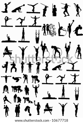 high detail olympic people silhouette - stock vector