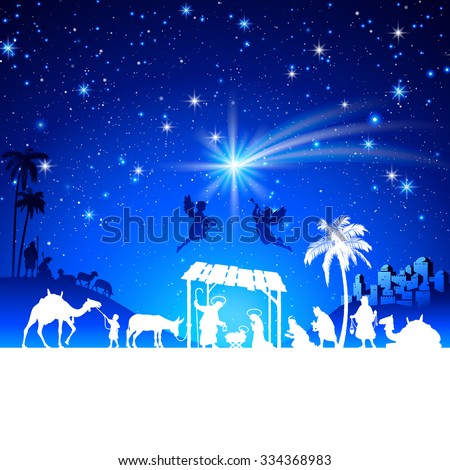High detail Vector nativity Christmas Scene silhouettes illustration with kings adoration group - stock vector
