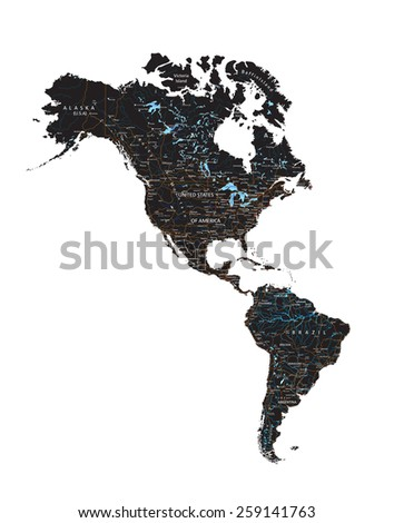 High detailed  Americas road map with labeling - Black. - stock vector