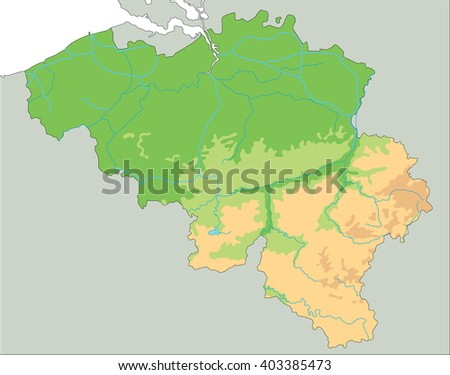 High detailed Belgium physical map. - stock vector