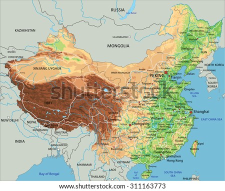 High detailed China physical map with labeling. - stock vector