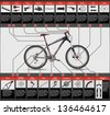 High detailed, completed scheme of hardtail MTB, each object has layer, EPS 10, contains transparency - stock vector