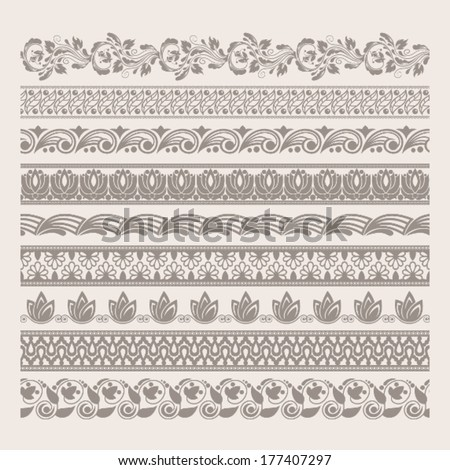 High detailed elegant vector borders. Set of decorative tapes. Original author'??s design, EPS-8. - stock vector