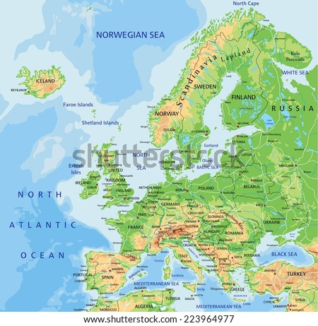 High detailed Europe physical map with labeling. - stock vector