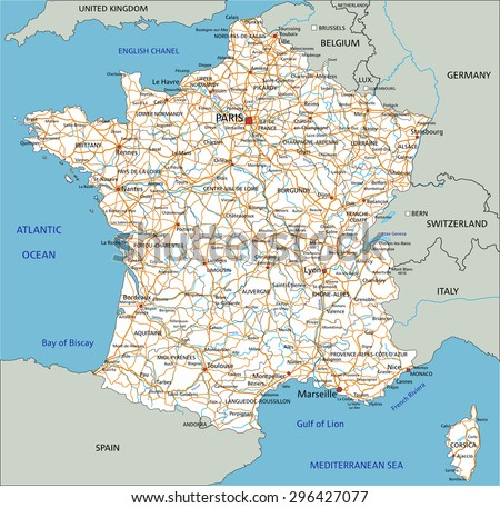 High detailed France road map with labeling. - stock vector