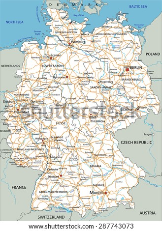 High detailed Germany road map with labeling. White. - stock vector