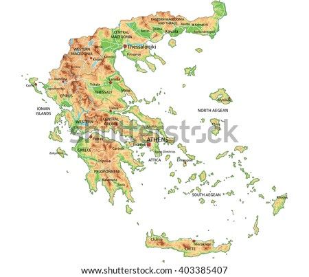 High detailed Greece physical map with labeling. - stock vector