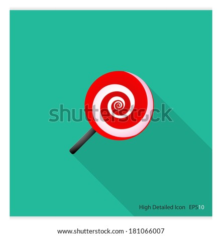 High detailed Icon with Long shadow ( Candy ) - stock vector