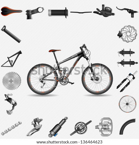 High detailed illustration of full-suspension MTB, with spare parts, each object has layer, EPS 10, contains transparency - stock vector