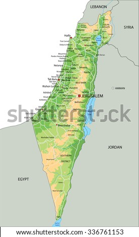 High detailed Israel physical map with labeling. - stock vector