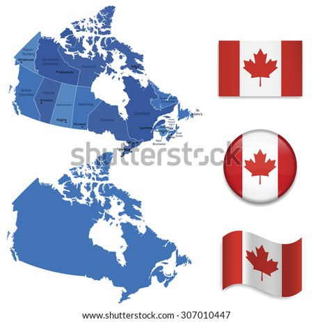 High Detailed Map of Canada With Flag Icons - stock vector