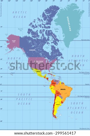 high detailed map of North and South America - stock vector