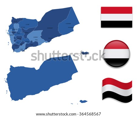 High Detailed Map of Yemen With Flag Icons - stock vector