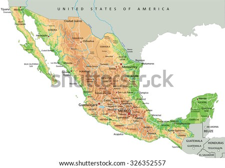 High detailed Mexico physical map with labeling. - stock vector