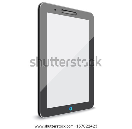 High-detailed modern time black tablet computer  - stock vector