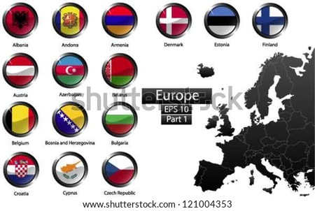 High detailed national flags of European countries, clipped in round shape glossy metal buttons, vector , part 1 - stock vector