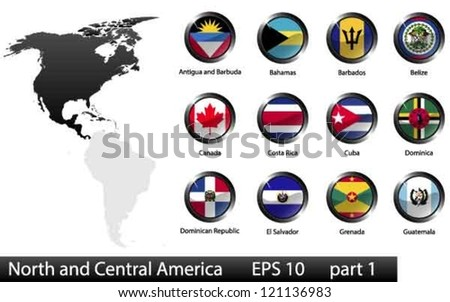 High detailed national flags of North and Central American countries, clipped in round shape glossy metal buttons, vector, part 1 - stock vector