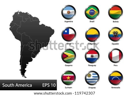 High detailed national flags of South American countries, clipped in round shape glossy metal buttons, vector - stock vector