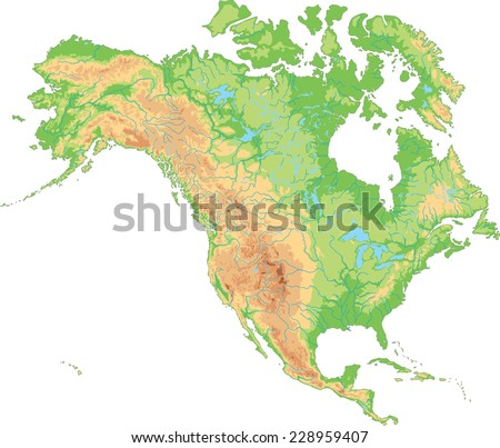 High detailed North America physical map. - stock vector