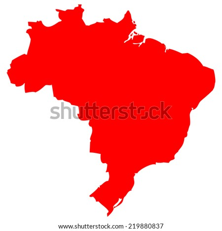 High detailed red vector map - Brazil  - stock vector