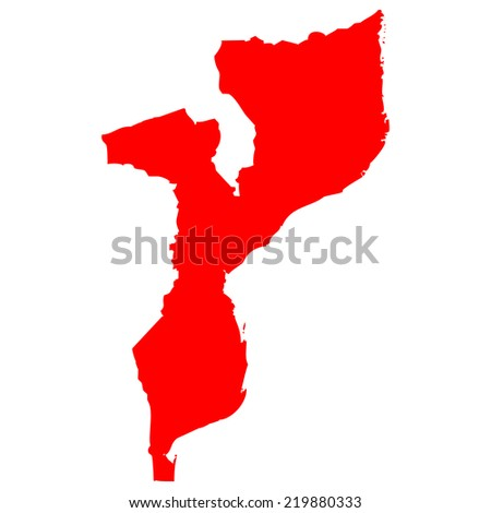 High detailed red vector map - Mozambique  - stock vector