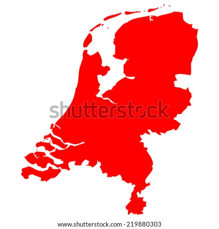 High detailed red vector map - Netherlands  - stock vector