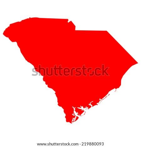 High detailed red vector map - South Carolina  - stock vector