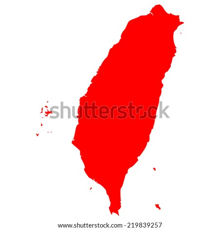 High detailed red vector map - Taiwan  - stock vector