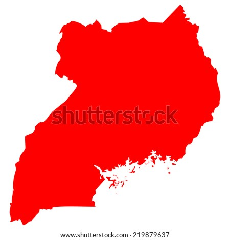 High detailed red vector map - Uganda  - stock vector