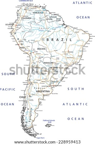 High detailed South America road map with labeling. - stock vector