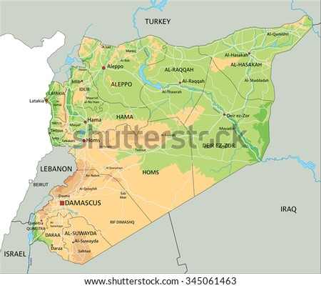 High detailed Syria physical map with labelling. - stock vector