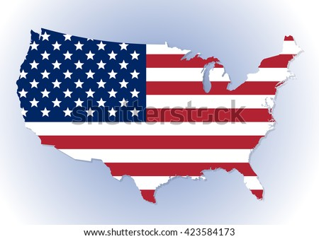 High detailed United States of America map with the national (Stars and Stripes) flag inside. Vector illustration - stock vector