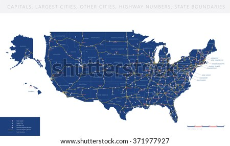 High detailed USA road map vector - stock vector