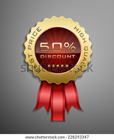 High detailed vector award ribbon isolated on dark gray background. - stock vector