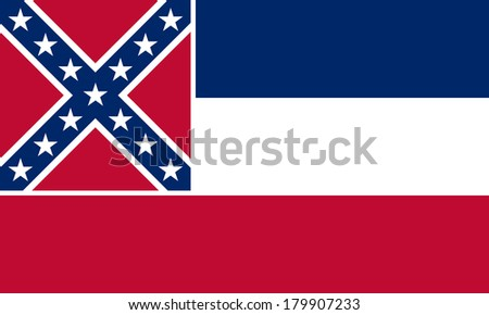 High detailed vector flag of Mississippi - stock vector