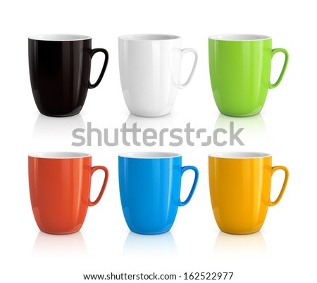 High detailed vector illustration of colorful cups isolated on white background - stock vector