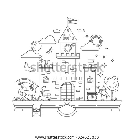 High detailed vector illustration of magic kingdom. Modern thin line design. Wizard, dragon and castle on the pages of the book. Illustration for children education. - stock vector