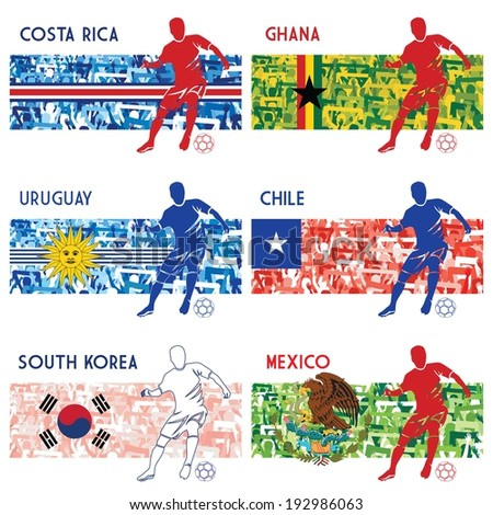 High detailed vector illustration of soccer player and a group of fans in National colors of Mexico, Costa Rica, Uruguay, Ghana, South Korea and Chile. Please see collections 1, 2, 3, 5 and 6. - stock vector