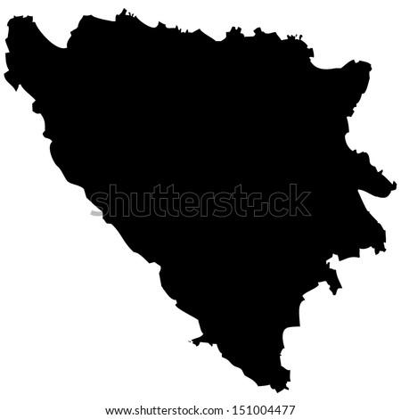 High detailed vector map - Bosnia & Herzegovina  - stock vector