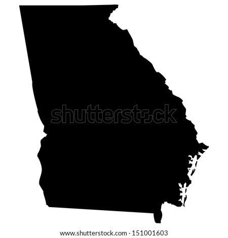 High detailed vector map - Georgia  - stock vector